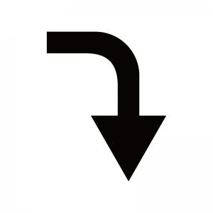 下向き矢印のシルエット02