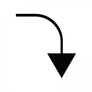 下向き矢印のシルエット03