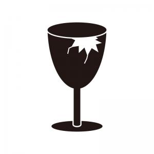 割れたワイングラスのシルエット