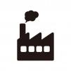 煙突がある工場のシルエット