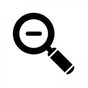 虫眼鏡(縮小)の白黒シルエットイラスト