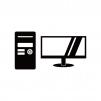 デスクトップ型パソコンとモニタのシルエット