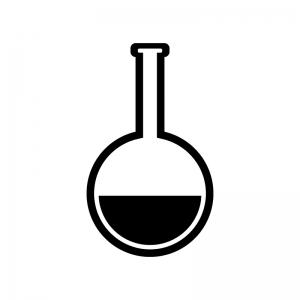 丸いフラスコの白黒シルエットイラスト素材