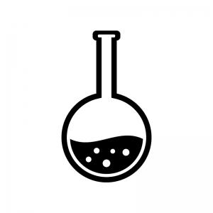 丸いフラスコの白黒シルエットイラスト素材02