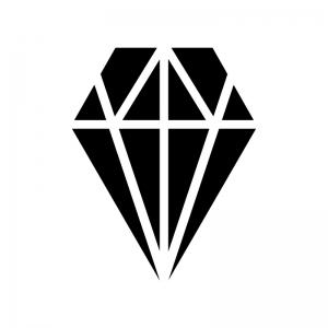 宝石・ダイヤの白黒シルエットイラスト素材