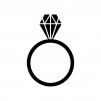 宝石・ダイヤの指輪の白黒シルエットイラスト素材