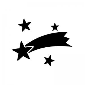 七夕・流れ星の白黒シルエットイラスト素材02