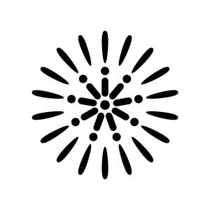 8月・花火の白黒シルエットイラスト素材02