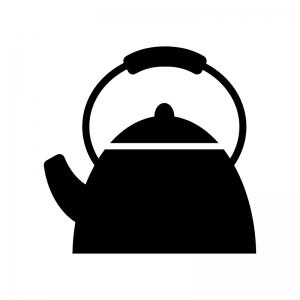 やかん・ポットの白黒シルエットイラスト素材02