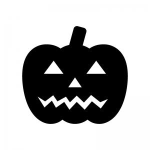 ハロウィン・かぼちゃのお化けの白黒シルエットイラスト素材02