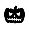 ハロウィン・かぼちゃのお化けの白黒シルエットイラスト素材03