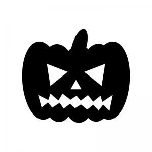 ハロウィンかぼちゃお化けのシルエット03 無料のaipng白黒