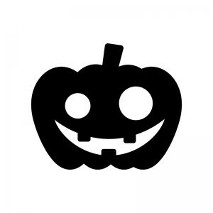 ハロウィン・かぼちゃのお化けの白黒シルエットイラスト素材04