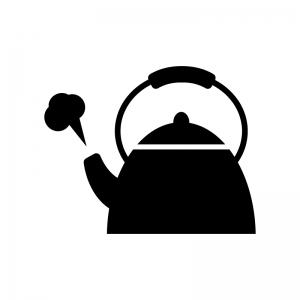 湯気のやかん・ポットの白黒シルエットイラスト素材02