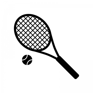 テニスラケットとボールの白黒シルエットイラスト素材