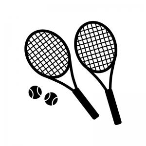 2本のテニスラケットとボールの白黒シルエットイラスト素材