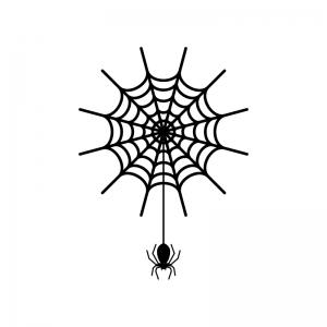 蜘蛛と蜘蛛の巣の白黒シルエットイラスト素材