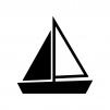 ヨットの白黒シルエットイラスト素材