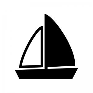 ヨットの白黒シルエットイラスト素材02