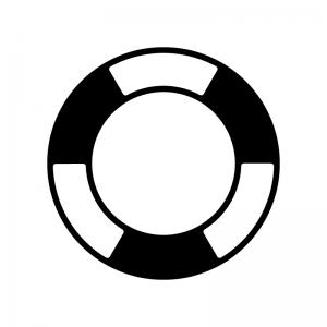 浮輪の白黒シルエットイラスト素材