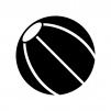 ビーチボールの白黒シルエットイラスト素材