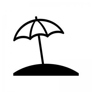 ビーチパラソルの白黒シルエットイラスト素材02