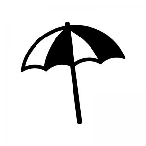 ビーチパラソルの白黒シルエットイラスト素材03