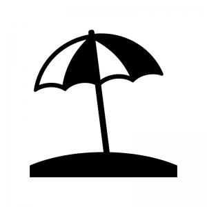 ビーチパラソルの白黒シルエットイラスト素材04