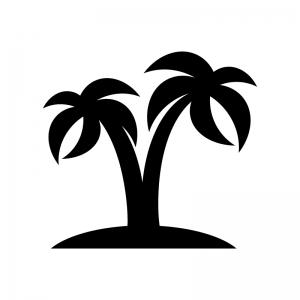 2本のヤシの木の白黒シルエットイラスト素材