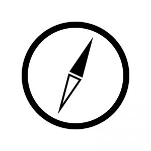 コンパス・方位磁石の白黒シルエットイラスト素材