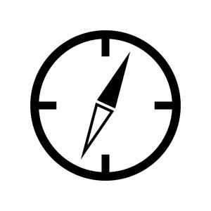 コンパス・方位磁石の白黒シルエットイラスト素材02