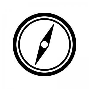 コンパス・方位磁石の白黒シルエットイラスト素材03