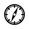 コンパス・方位磁石の白黒シルエットイラスト素材04