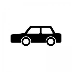 自動車・セダンの白黒シルエットイラスト素材