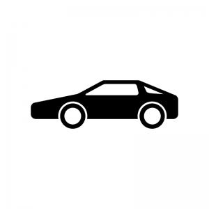 自動車・スポーツカーの白黒シルエットイラスト素材