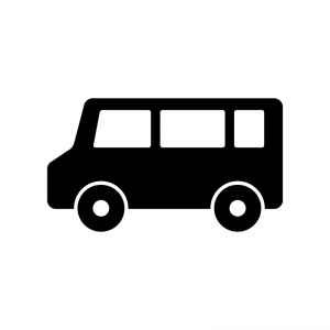 自動車・ワンボックスカーの白黒シルエットイラスト素材