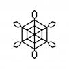 雪の結晶の白黒シルエットイラスト素材