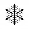 雪の結晶の白黒シルエットイラスト素材02