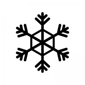 雪の結晶の白黒シルエットイラスト素材03