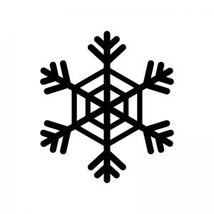 雪の結晶の白黒シルエットイラスト素材04