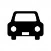 フロント・正面の自動車の白黒シルエットイラスト素材