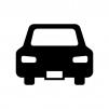 リア・後方の自動車の白黒シルエットイラスト素材