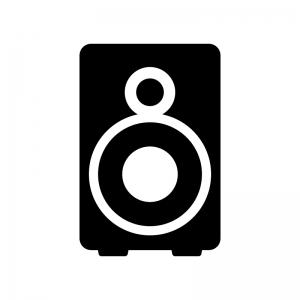 ステレオスピーカーの白黒シルエットイラスト素材02