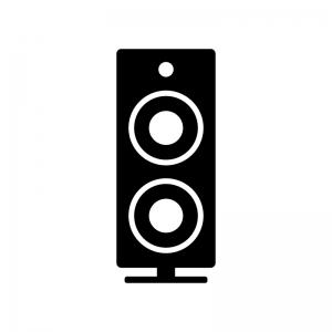 ステレオスピーカーの白黒シルエットイラスト素材03