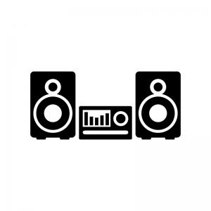 オーディオ・ステレオの白黒シルエットイラスト素材02