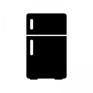 小型冷蔵庫の白黒シルエットイラスト素材