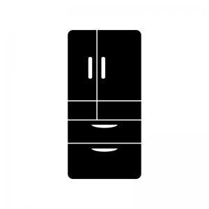 大型冷蔵庫の白黒シルエットイラスト素材