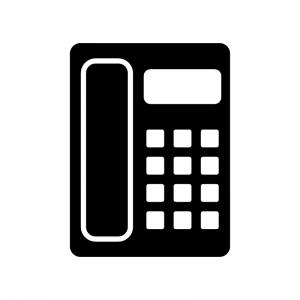 家庭用電話機の白黒シルエットイラスト素材