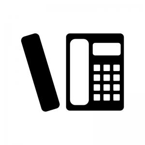 家庭用コードレス電話機の白黒シルエットイラスト素材