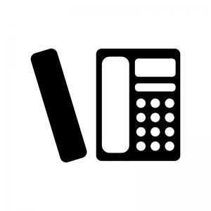 家庭用コードレス電話機の白黒シルエットイラスト素材02